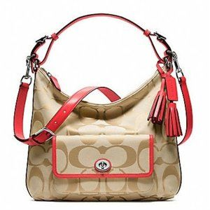Coach Legacy Signature Courtney Khaki Coral Hobo